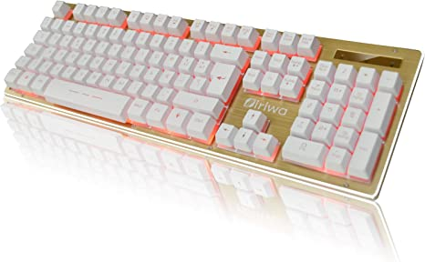 Teclado Gaming - 3 LED Teclado para Juegos Iluminado a Contraluz - GALOOK S-300 Gaming Keyboard Layout Español - Blanco