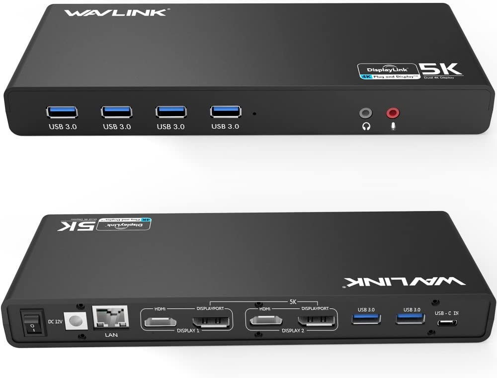 WAVLINK USB C&3.0 Ultra 5K Docking Station HD Dual Video Multifunción Display con USB-C in,2x5K DP Puertos y 2x4K HDMI Puertos, 6xUSB 3.0, Gigabit Ethernet, Audio out y Mic in