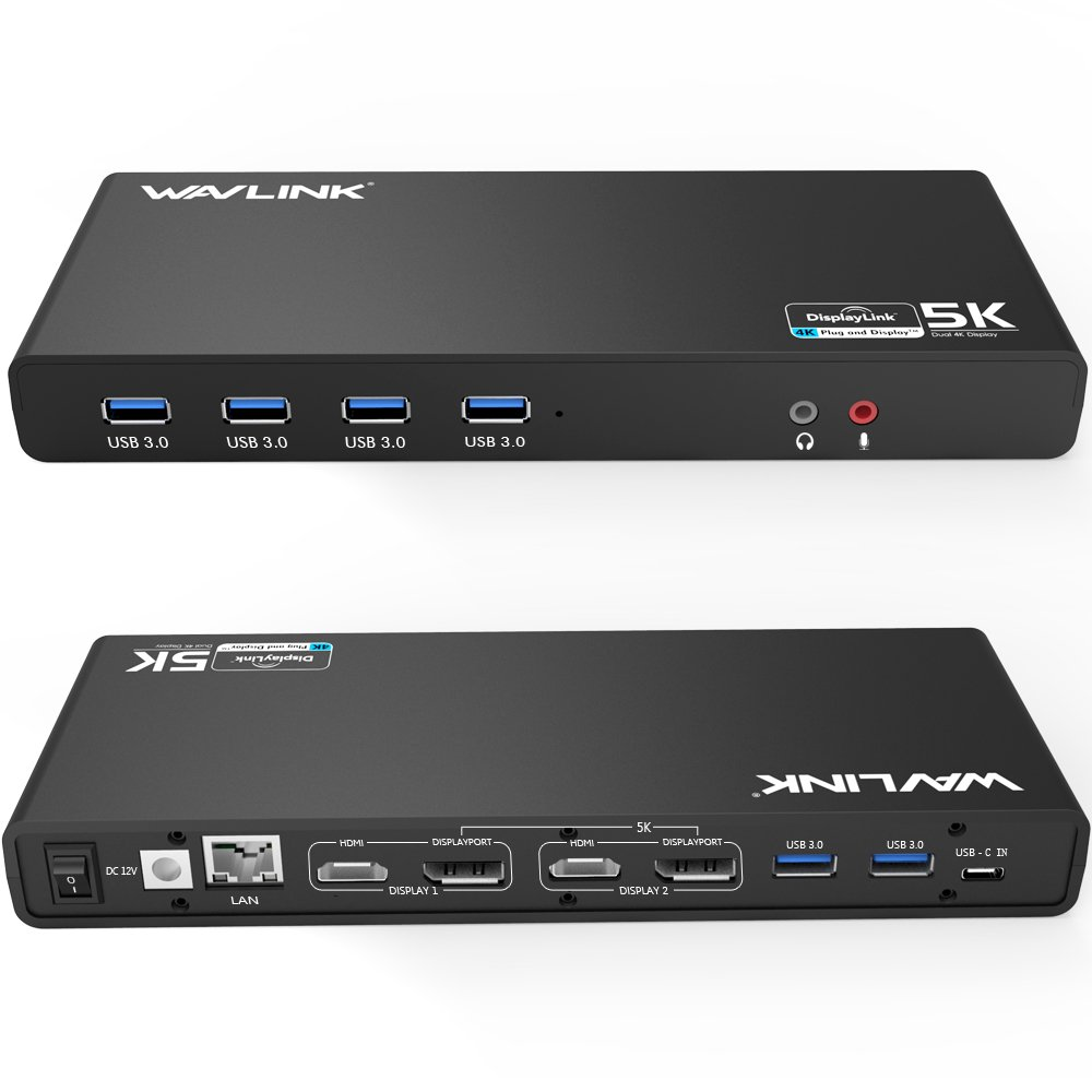 Wavlink USB C,Type-A Dual 4K Laptop Docking Station,5K/ Dual 4K @60Hz Video Outputs Dual Monitor for Windows,(2 HDMI & 2 DP, Gigabit Ethernet, 6 USB 3.0,) DL6950-PD Function Not Supported