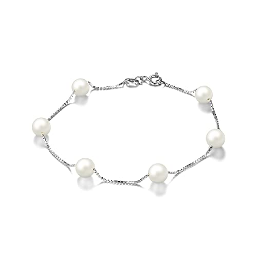 7acc3b2805bb JewelryPalace Mujeres 6.5mm de agua dulce cultivadas Pearl Link ...