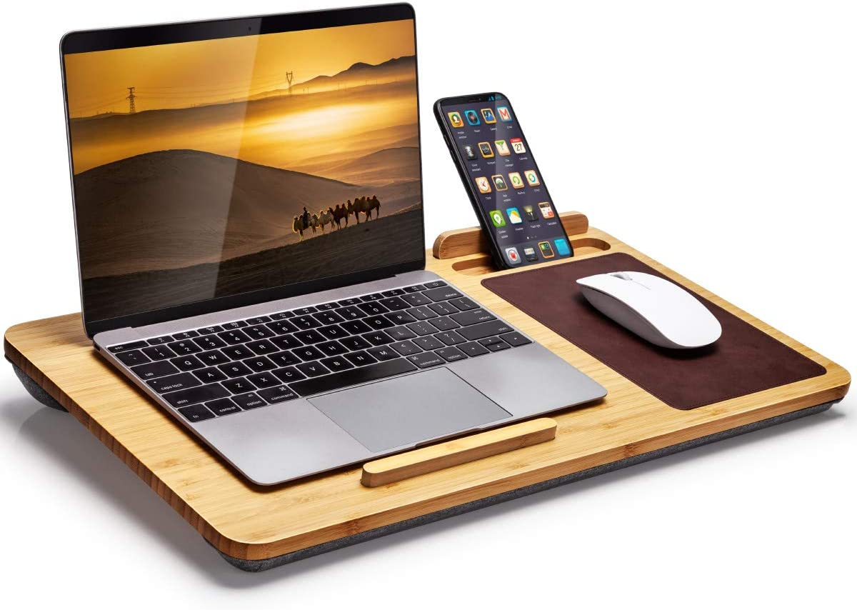 wireless future charger Lap Desk - Bamboo Laptop Lap Desk with Vent Holes, Built in Mouse Pad & Device Ledge,Pen & Phone Holder - Fits up to 17 Inch Laptops and Most Tablets