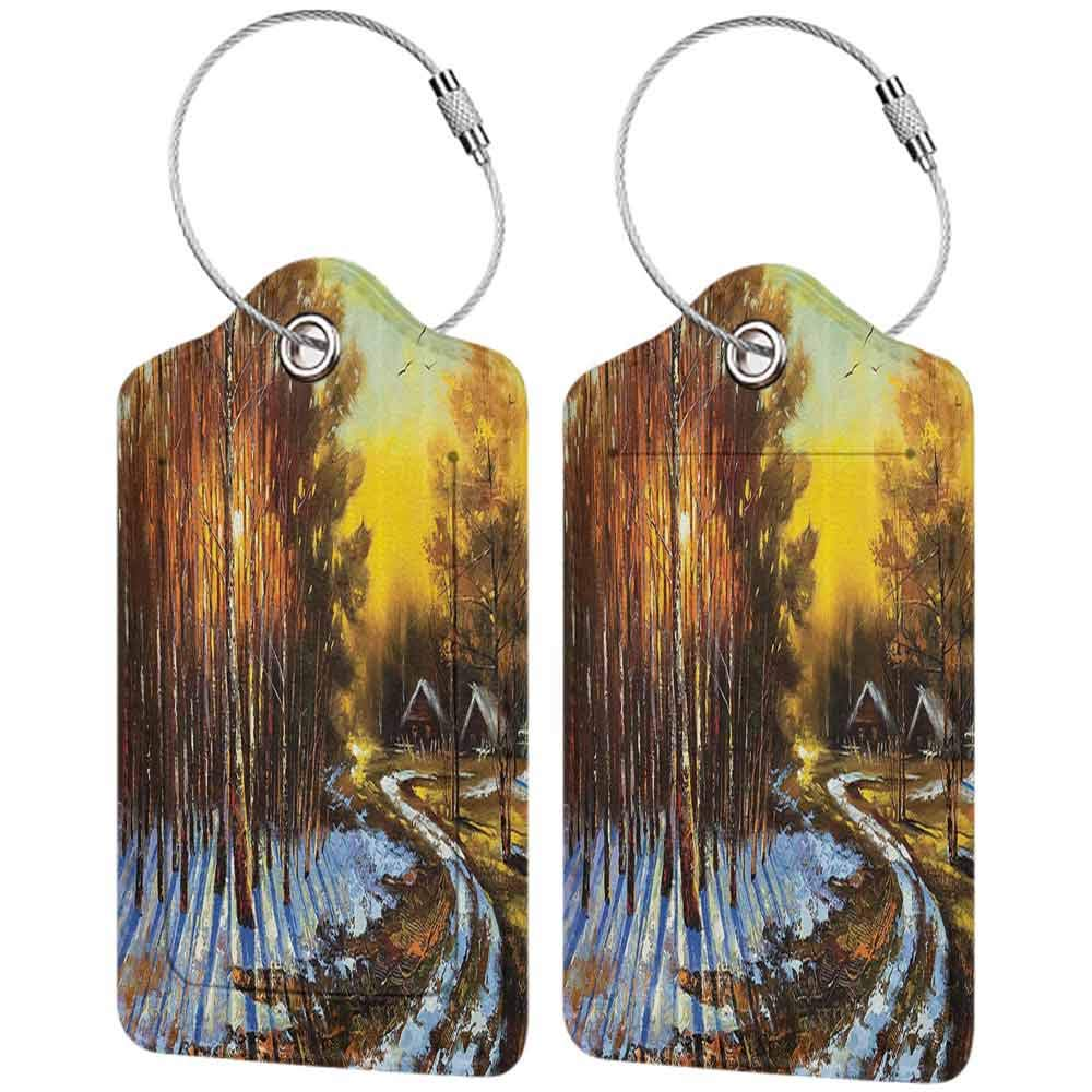 Multi-patterned luggage tag Lakehouse Decor Collection Oil Painting View Rural Winter Landscape Sun Beams Coming between Trees Rustic Houses Rearmost Birds Flying in the Sky ong W2.7 x L4.6