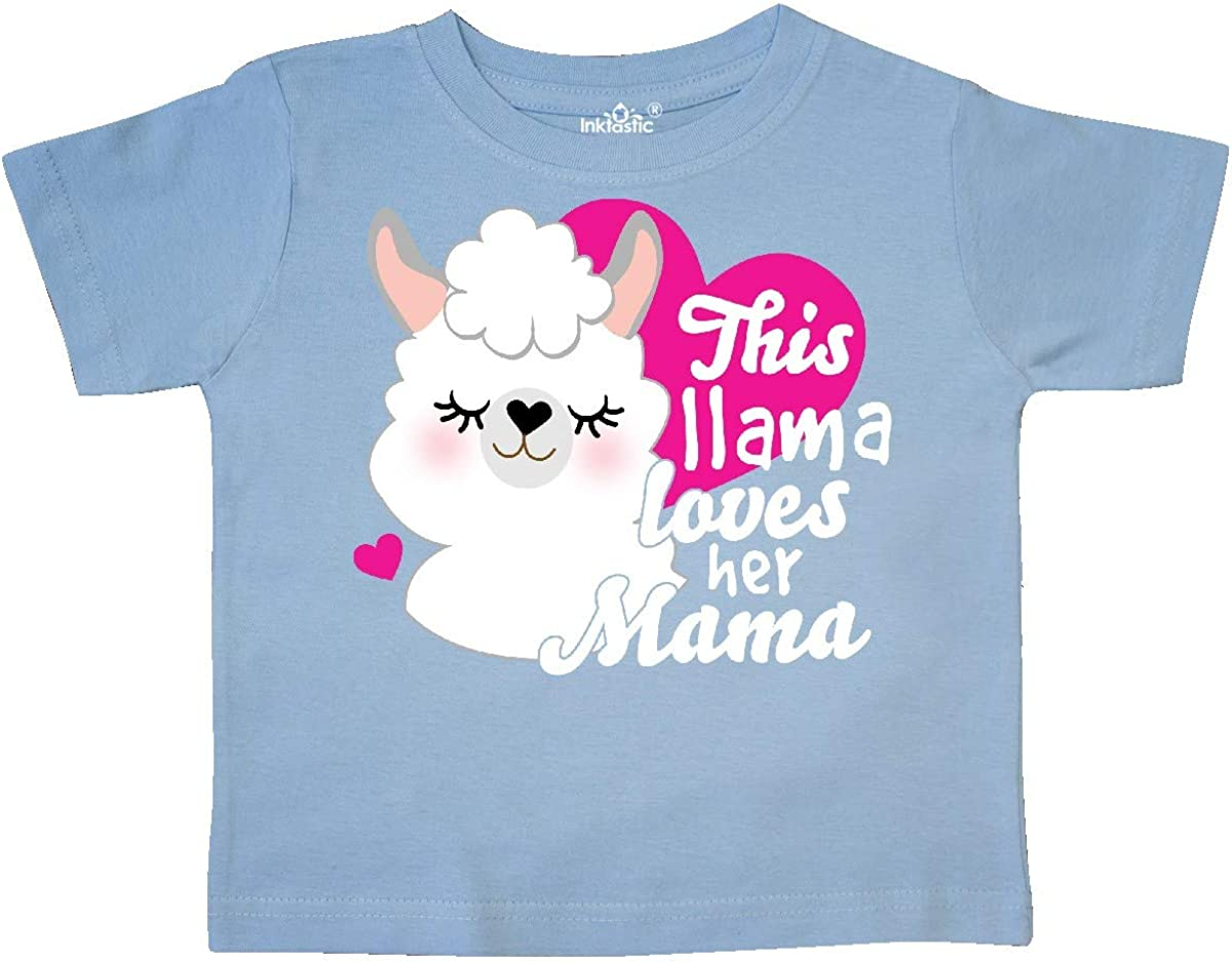 inktastic Valentines Day This Llama Loves Her Mama Toddler T-Shirt