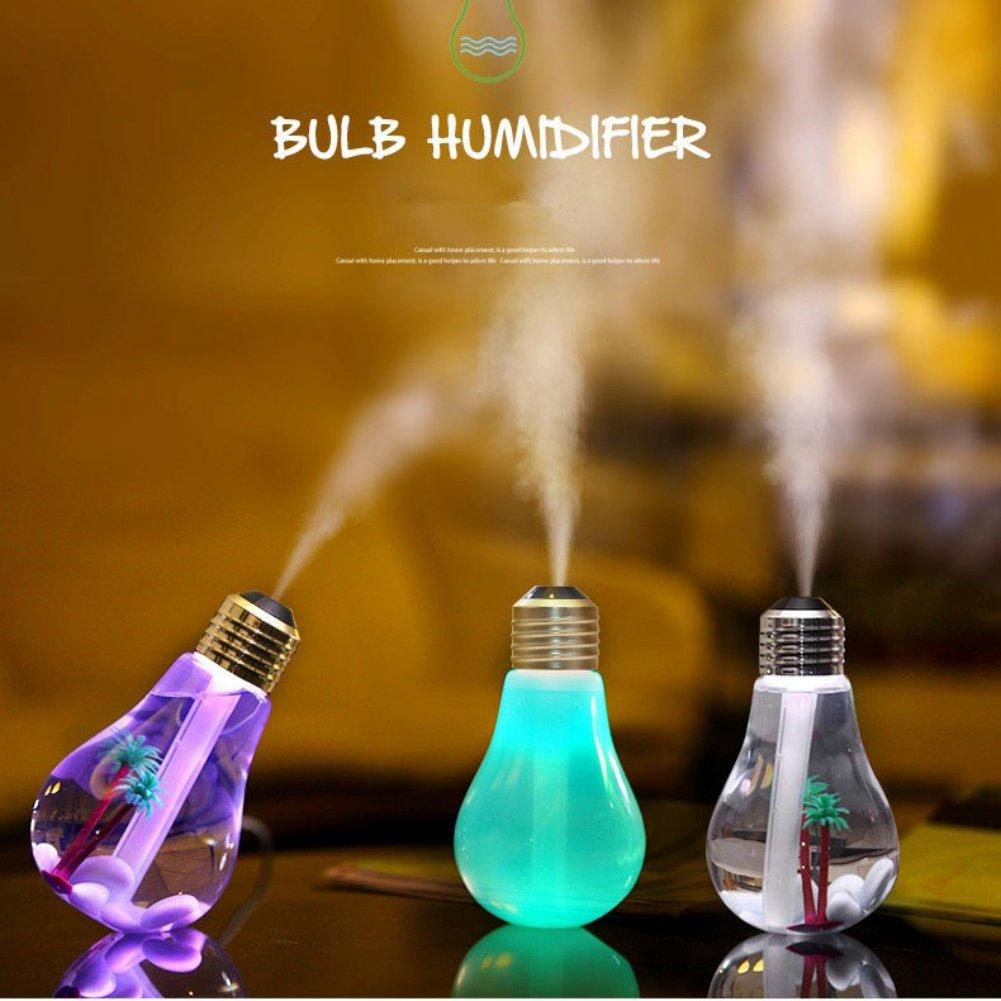 REFURBISHHOUSE Humidificador de Bombilla de decoloracion Alimentado por USB luz de Noche de 7 Colores Ultra silenciosa Plata