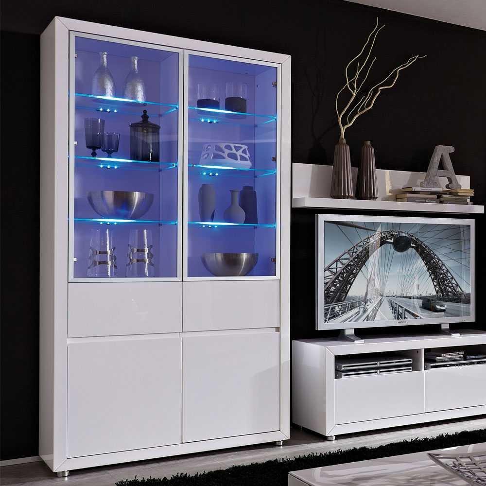 Wohnzimmer-Schrank Ice in Weiß Hochglanz Mit blauer Beleuchtung ...