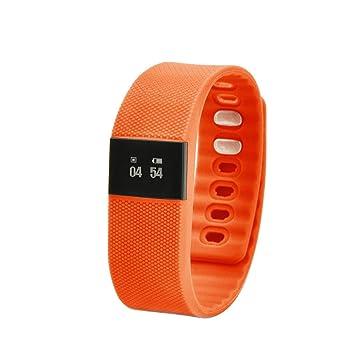 fenguh Naranja TW64 Bluetooth 4.0 SmartBand Inteligente Reloj Pulsera Wrist Band SmartWatch Podómetro Monitor de Anti