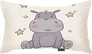 oFloral Throw Pillow Covers Pink Africa Cute Hippo for Children Animal Star Decorative Pillow Case for Home Couch Bedroom Car 12x20 Inch Cotton Linen Pillowcase