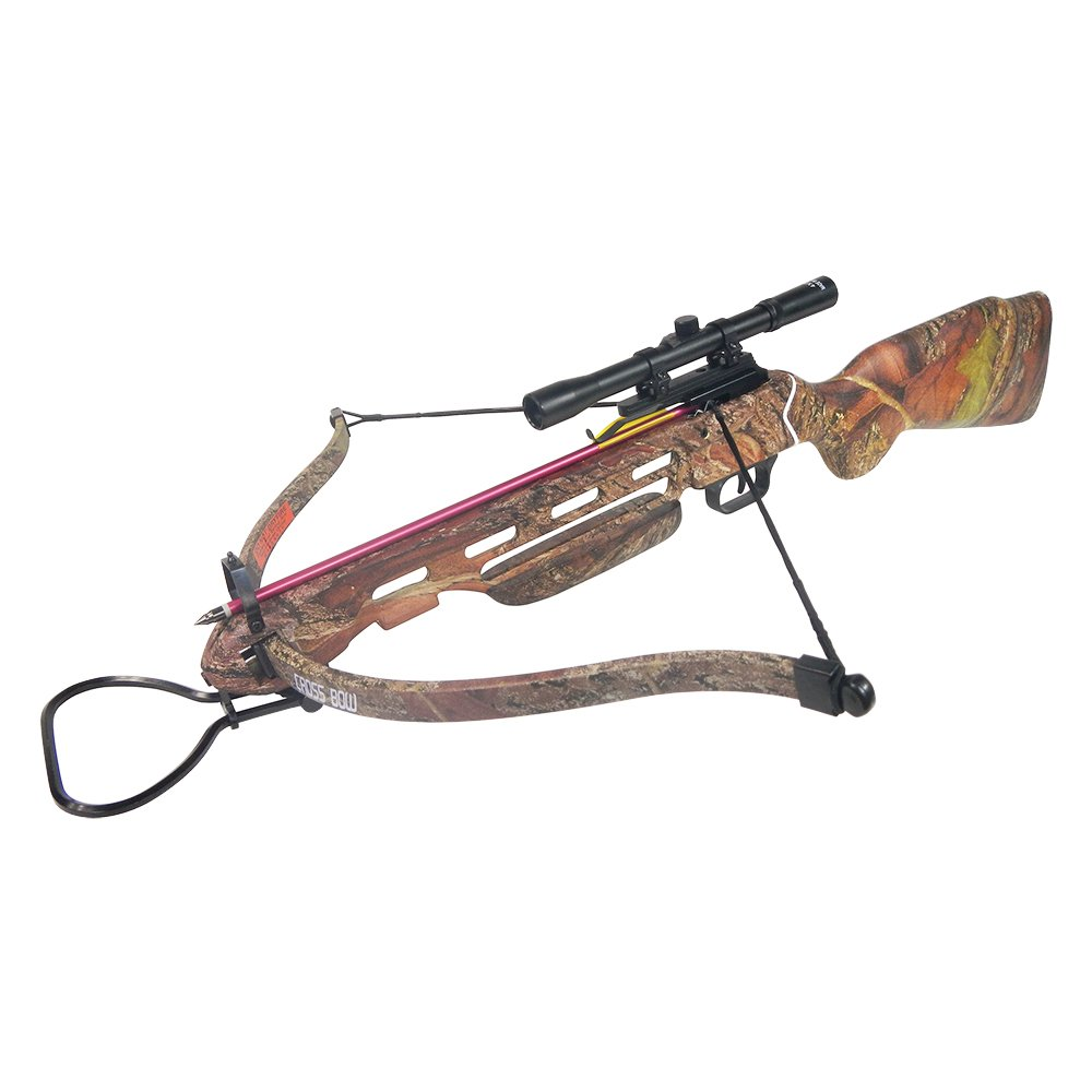 150 lb Desert Camouflage Hunting Crossbow Bow + 4x20 Scope + 7 Bolts/Arrows + Rope Cocking Device 180 80 50 lbs