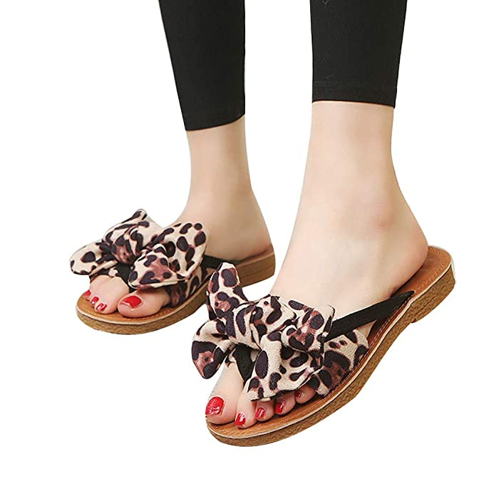 668f8fd006a88 Creamdog❤ ❤️Summer Bow Leopard Print Beach Flip Flops Sandals ...