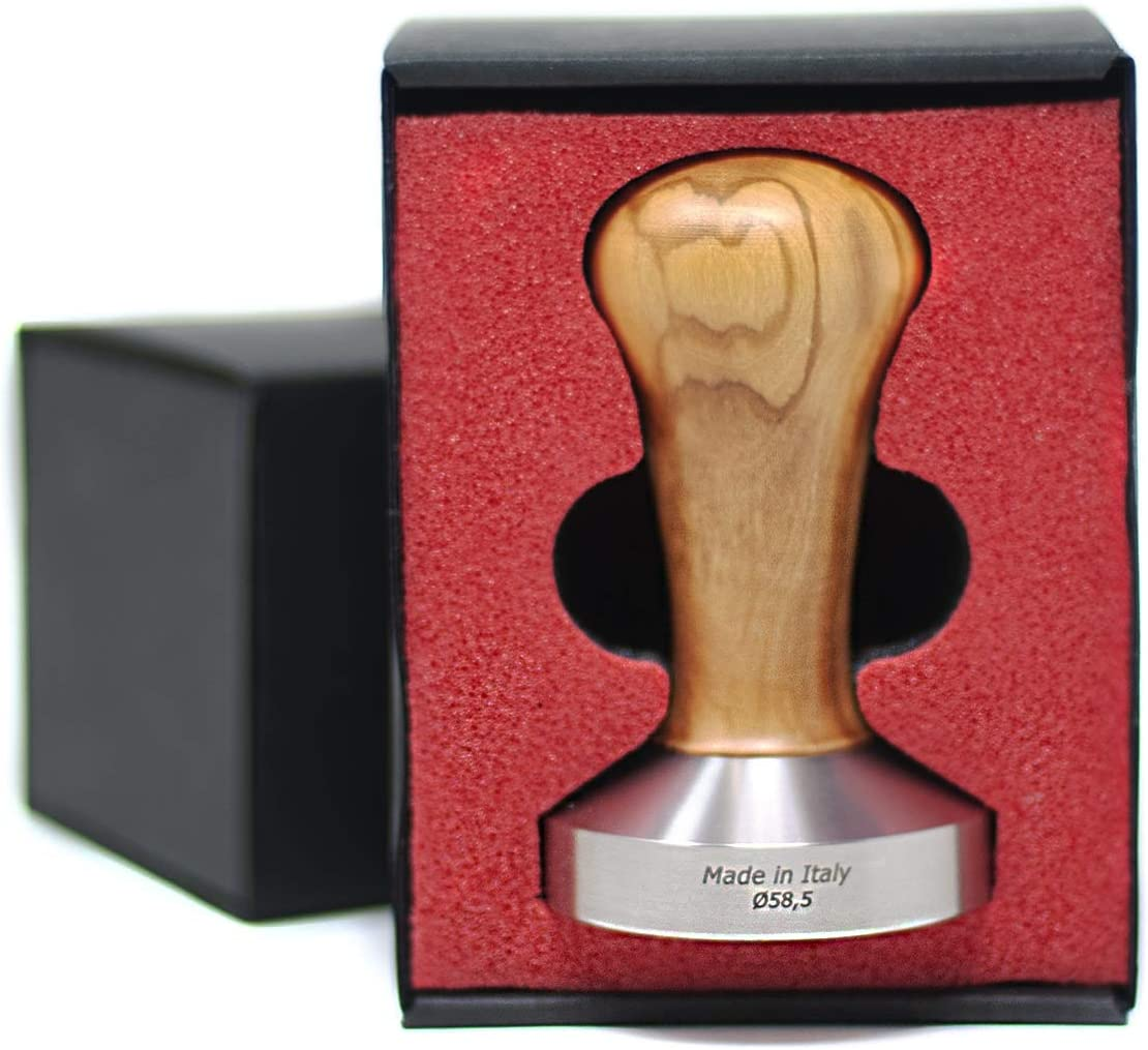 Espresso Coffee Tamper With Olive Tree Wood Handle and Stainless Steel Base 58mm