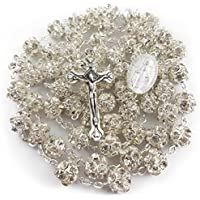 White Zircon Clear Crystals Beads Rosary Catholic Necklace Miraculous Medal & Crucifix