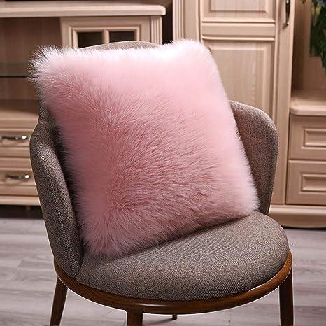 Funda de cojín de pelo sintético muy suave, funda de cojín de café, cojín de decoración del hogar, 45 x 45 cm, sin almohada interior, rosa