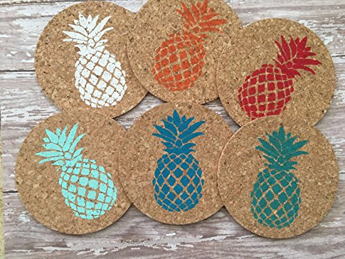 Colorful Pineapple Beach Bar Cork Coaster Set, 6