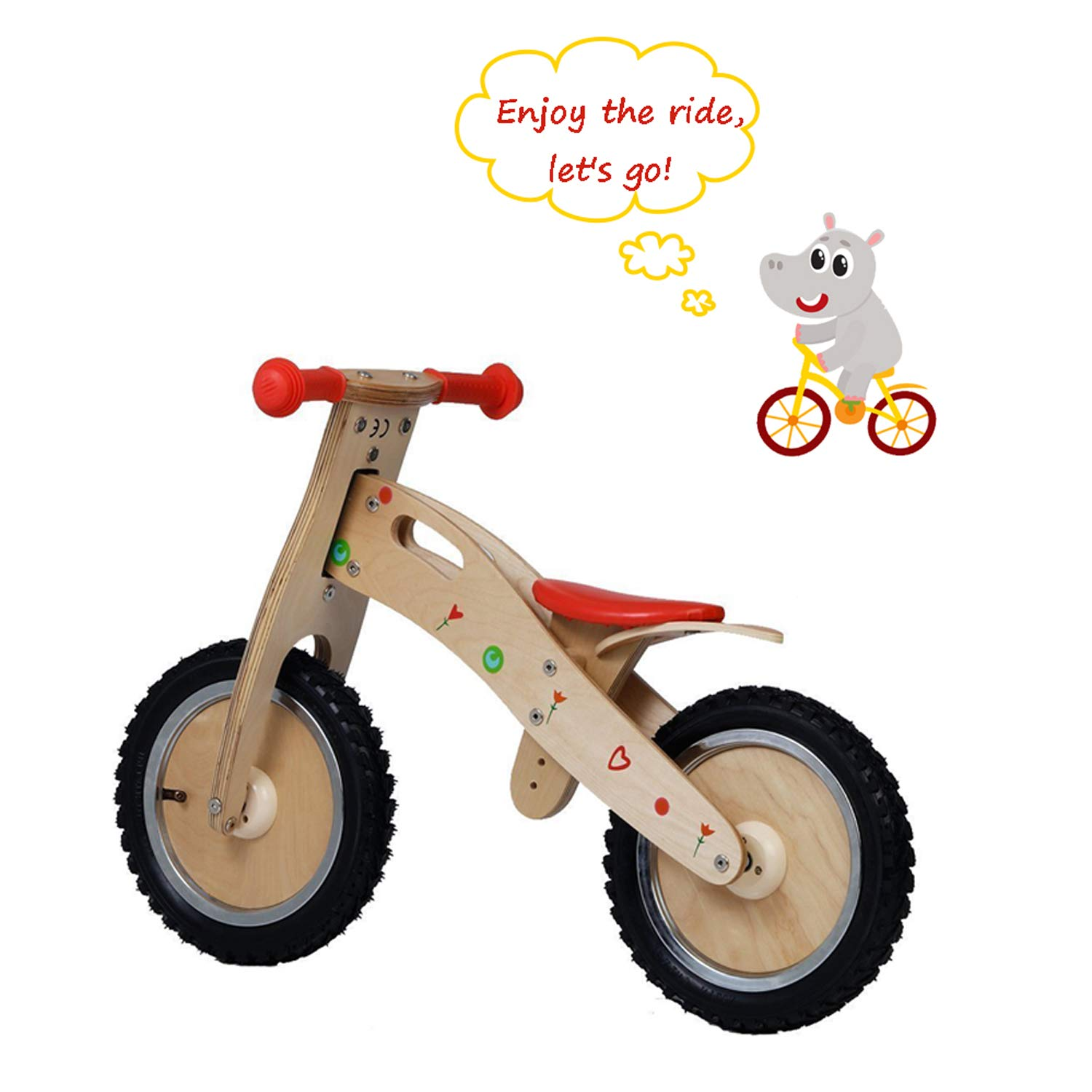 Labebe Balance Bike for Kids, Height Adjustable for 18 Month- 3 Year Old Babies, Wooden Balance Bike/Brown Balance Bike/Mini Balance Bike/Bike Balance Buddy/No Pedal Balance Bike