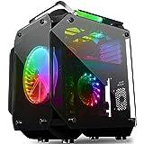 COOLMAN ミドルタワー PCケース ATX/MicroATX対応 強化ガラス フルスケルトン仕様 VRゲーミング 20cm RGBファン付属 @NSS