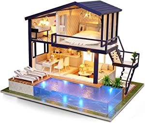 huayishang DIY Miniature Dollhouse Kit with Light & Furniture, Handmade Mini Modern Time Apartment Model, 1:24 Scale Creative Doll House Toys for Teens and Adult Craft Gift …