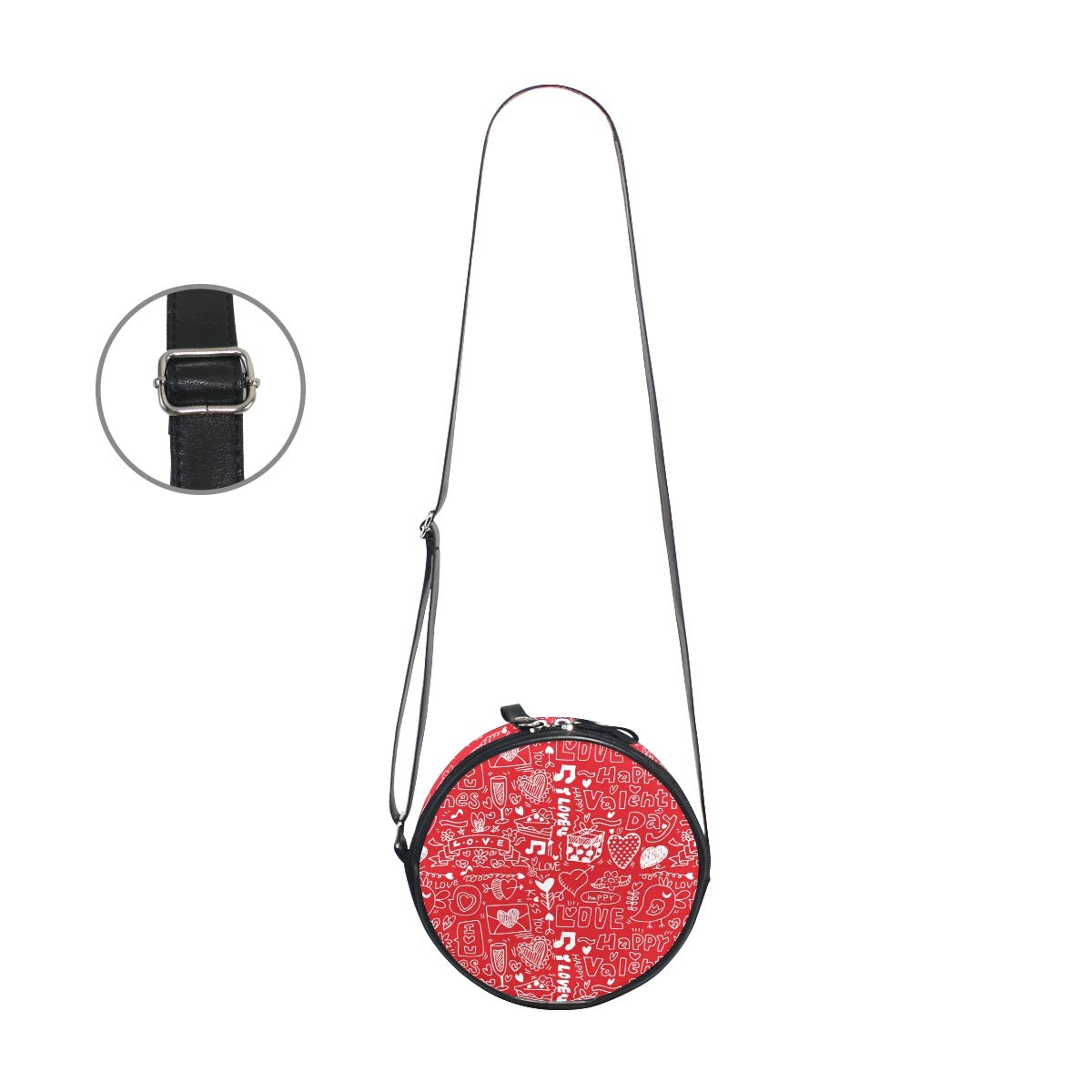 Seamless Valentines Day Pattern Super Cute Design Small Canvas Messenger Bags Shoulder Bag Round Crossbody Bags Purses for Little Girls Gifts