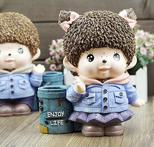 YOURNELO Resin Monchhichi Pen Pencil Holder Desk Organizer Accessories (Girl)