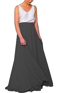 532b75310bb9 Women Long Bridesmaid Chiffon High Waist Skirt Maxi Floor Length Bridesmaid  Party Dress