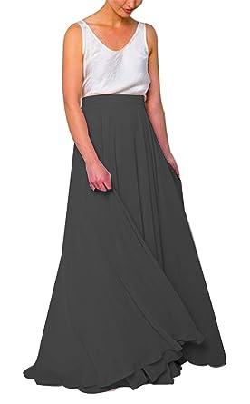 8c74592dd93b Women Long Bridesmaid Chiffon High Waist Skirt Maxi Floor Length Bridesmaid  Party Dress Black