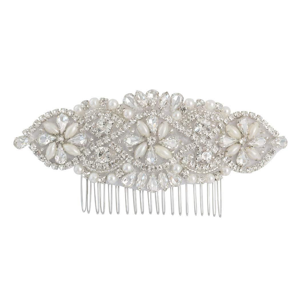 LovShe Bridal Hair Accessories Pearl Wedding Hair Comb Crystal Rhinestone Hair Comb for Bride Bridesmaid by LovShe