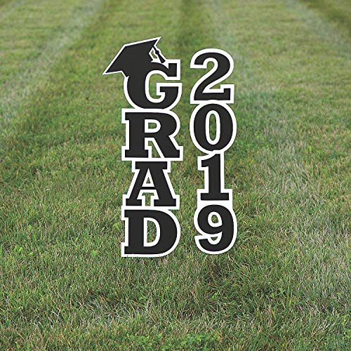 Fun Express - Black 2019 Grad Yard Sign for Graduation - Party Decor - General Decor - Yard Signs - Graduation - 2 Pieces ()