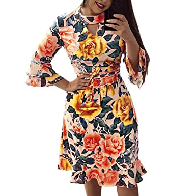 d6fe6e2dcc06 Amazon.com: Usstore Women Floral Print Dress Elegant Flare Sleeve High  Waist O-Neck Bright Ruffle Hem Splice Party Gown with Belt: Clothing