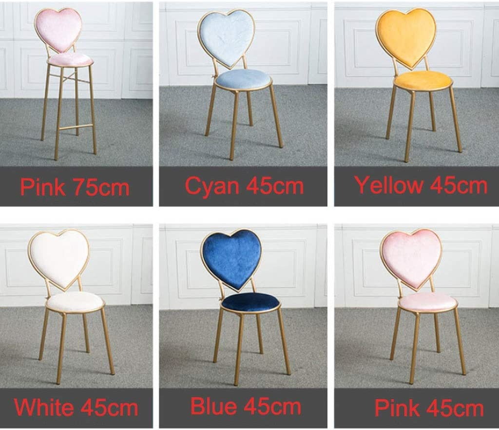 Color : White, Size : 45cm Wrought Iron Heart-Shaped Stools Flannel Lounge Chairs Kitchen Counter Dessert Shop High Bar Stool with Backrest Cafe Golden Dresser Chair Metal Legs G