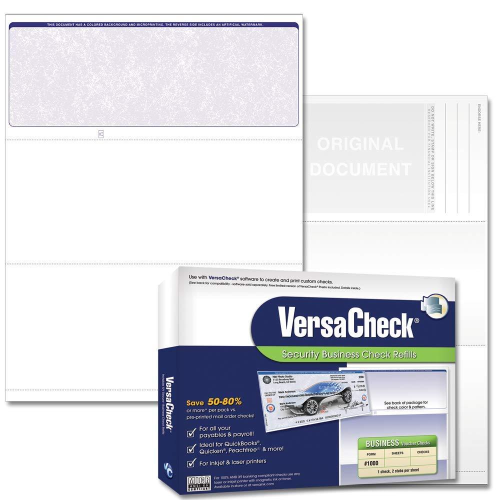 VersaCheck Security Business Check Refills: Form #1000 Business Voucher - Blue - Classic - 1000 Sheets