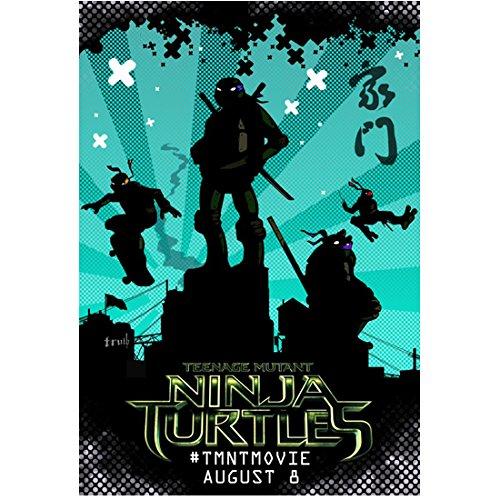 Teenage Mutant Ninja Turtles Cartoon Movie Poster with blue ...
