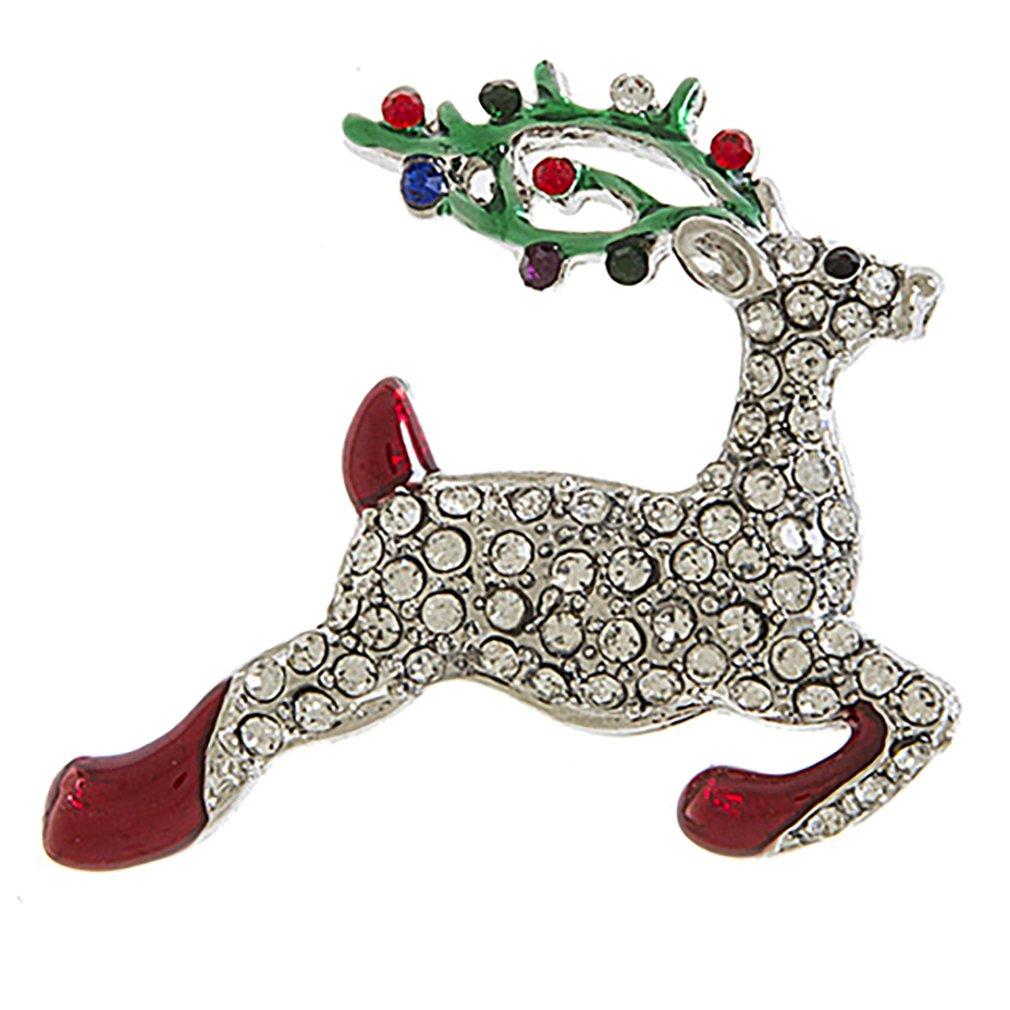 ACCESSORIESFOREVER Christmas Jewelry Holiday Dazzling Crystal Rhinestone Reindeer Brooch BH217 SV