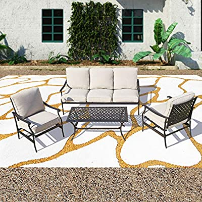 Patio Festival ® Outdoor Patio Conversation Set Patio Bistro Dining Furniture Sectionals Metal Sofa Chair Coffee Table W/Thick Cushion