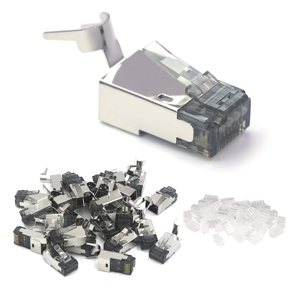 "VCE 25 PCS Nickel Plated Shielded RJ45 Modular Plug for Cat6A/Cat7 Solid and Stranded Cable - 50u"" Gold Plated Ethernet Connector"