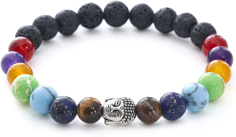 Pulsera de 7 chakras con piedra natural y perlas de lava - BERGERLIN Feel Goods