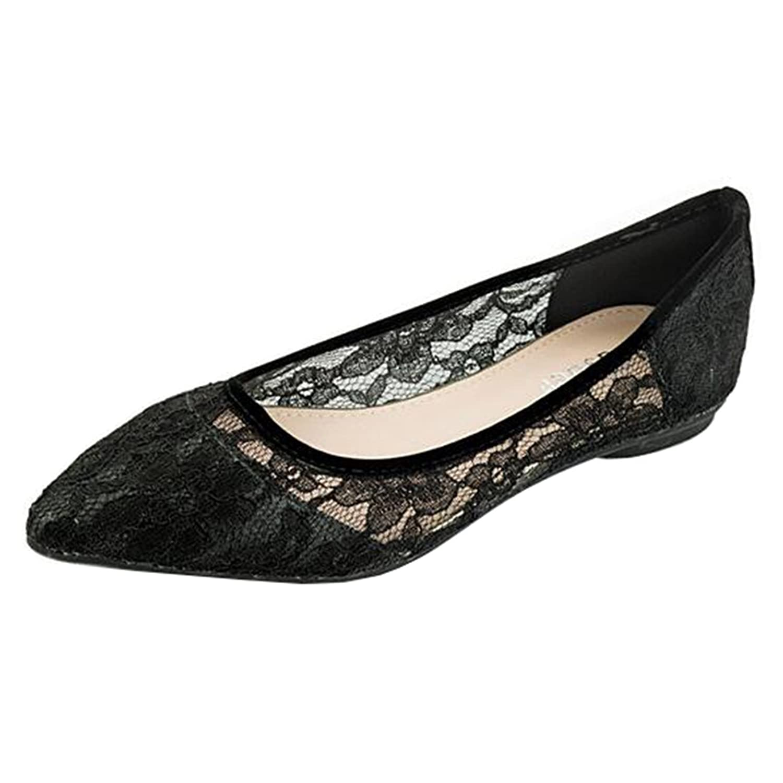 Mashiaoyi Women's Pointed-Toe Flat Slip-on Lace Ballet Flats