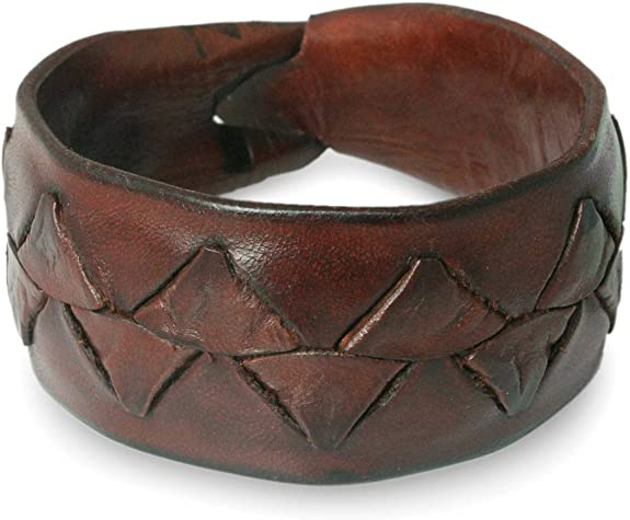 "NOVICA Leather Men's Wristband Bracelet, 8.5"" 'Ayutthaya Brown'"