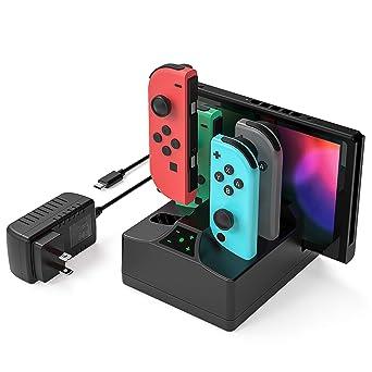 YCCSKY - Base de carga Joy-Con para Nintendo Switch, estación de carga rápida 5 en 1