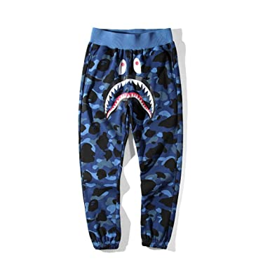 Mens Sports Casual Sweat Pants Trousers Bape A Bathing Ape Shark Head Jaw  Shorts (Blue 18f19bbb7
