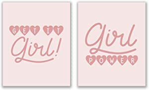 Girl Power Prints - Set of 2 (8x10 Inches) Pink Feminist Girl Boss Inspirational Motivational Typography Quotes Wall Art Decor