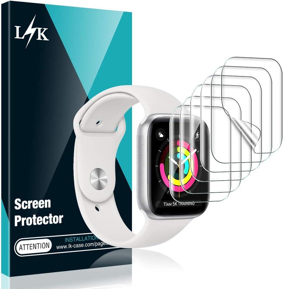 L K 6-Unidades Protector de Pantalla para Apple Watch 40mm Series 4/5 y 38mm Series 1/2/3, HD Película de TPU Flexible [Sin Burbujas] [Funda Compatible] [Sin Bordes Elevados] [Instalación Fácil]