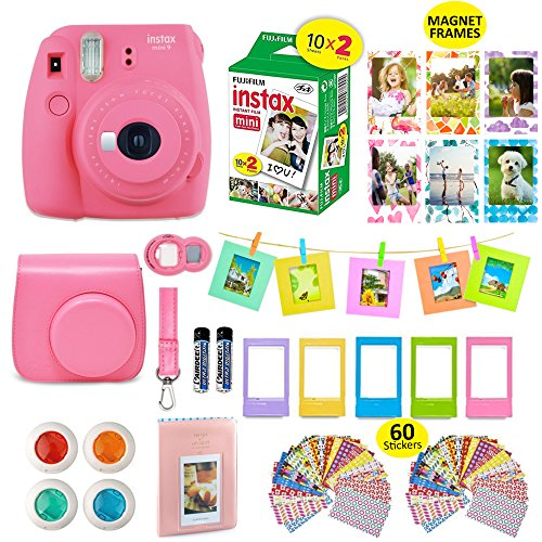 Fujifilm instax mini 9 instant Camera + 20 Instant Film Pack, Instax Case + 15 PC Instax Accessories Bundle, Kit Includes , Albums, Selfie Lens, 4 Color Lenses, Magnets Frames, 60 Stickers by Shutter