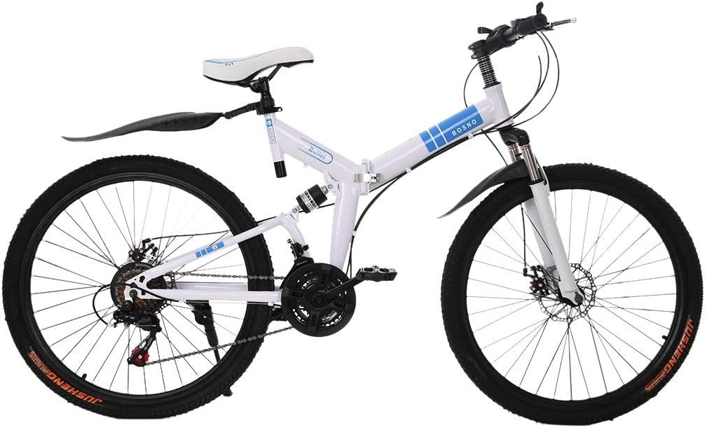 Qijing Adults Folding Mountain Bike 26 Inch Mountain Bike with 21 Speed Dual Disc Brakes Full Suspension Non-Slip Bicycle High Carbon Steel Frame MTB for Outdoor Racing Cycling Fast-Speed Bike