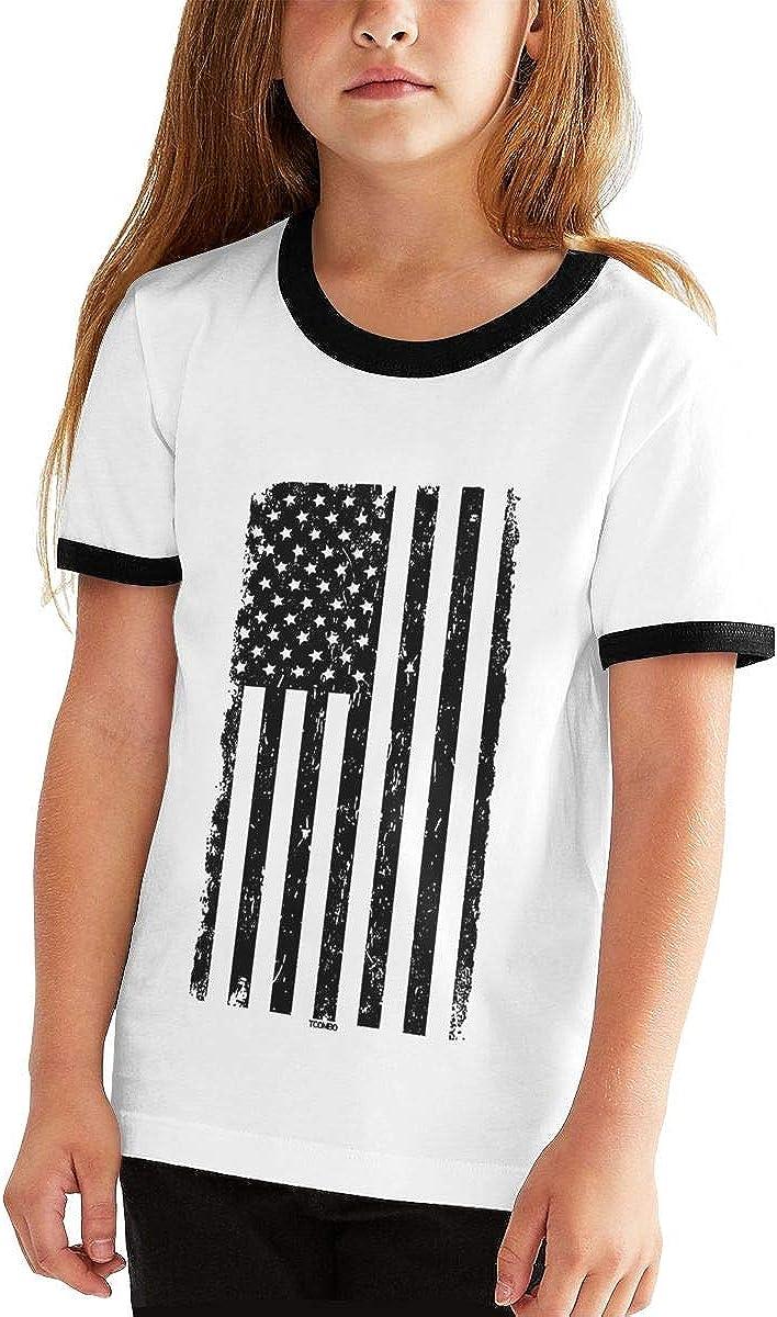 Angkella Distressed Black USA Flag Casual Loose Short Sleeve Tops Tee Shirts for Boys Girls
