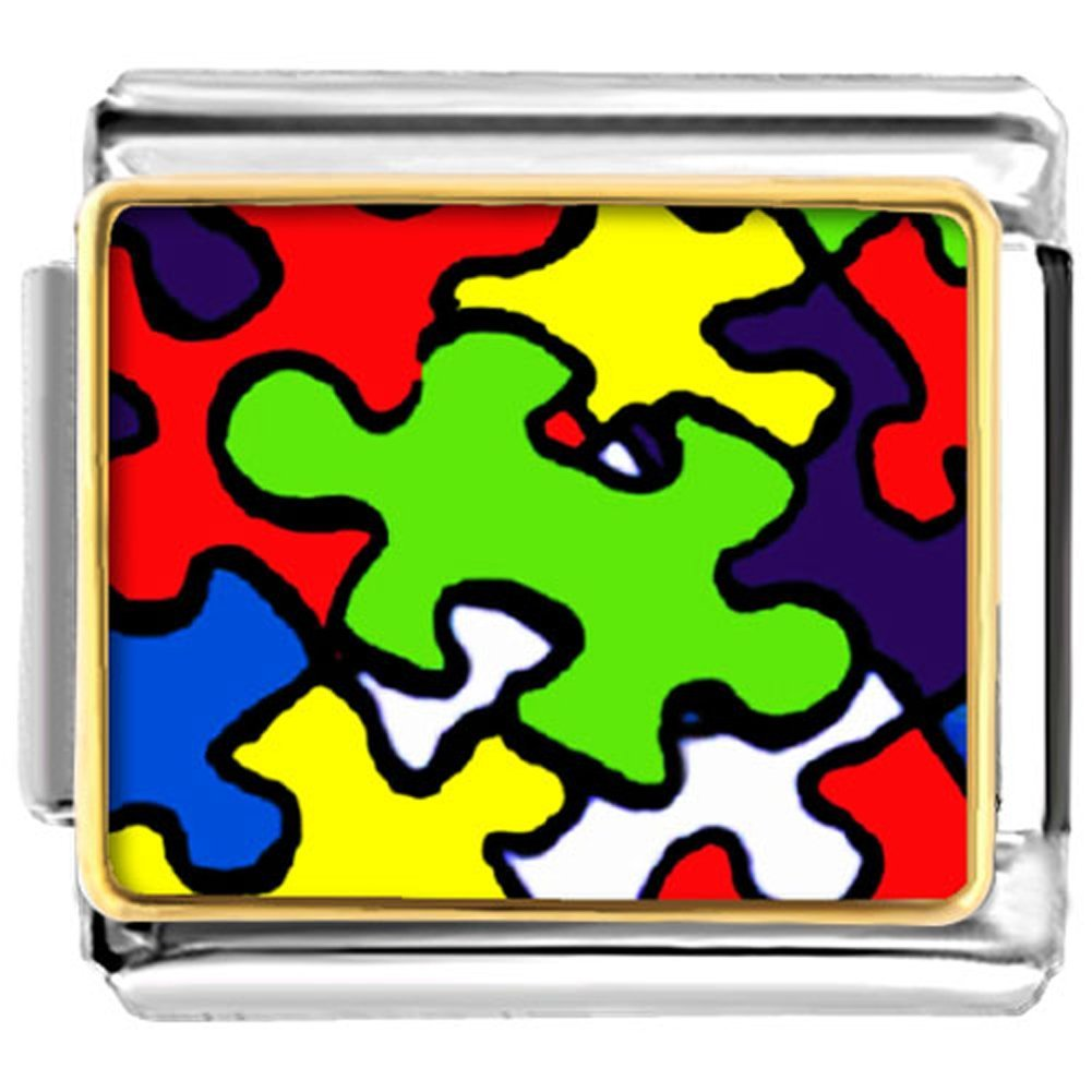 LuckyJewelry Autism Puzzle Awareness Nomination Etched Italian Charm Sale Cheap fit Bracelet Link Lantern Low B01G1O8NJS_US