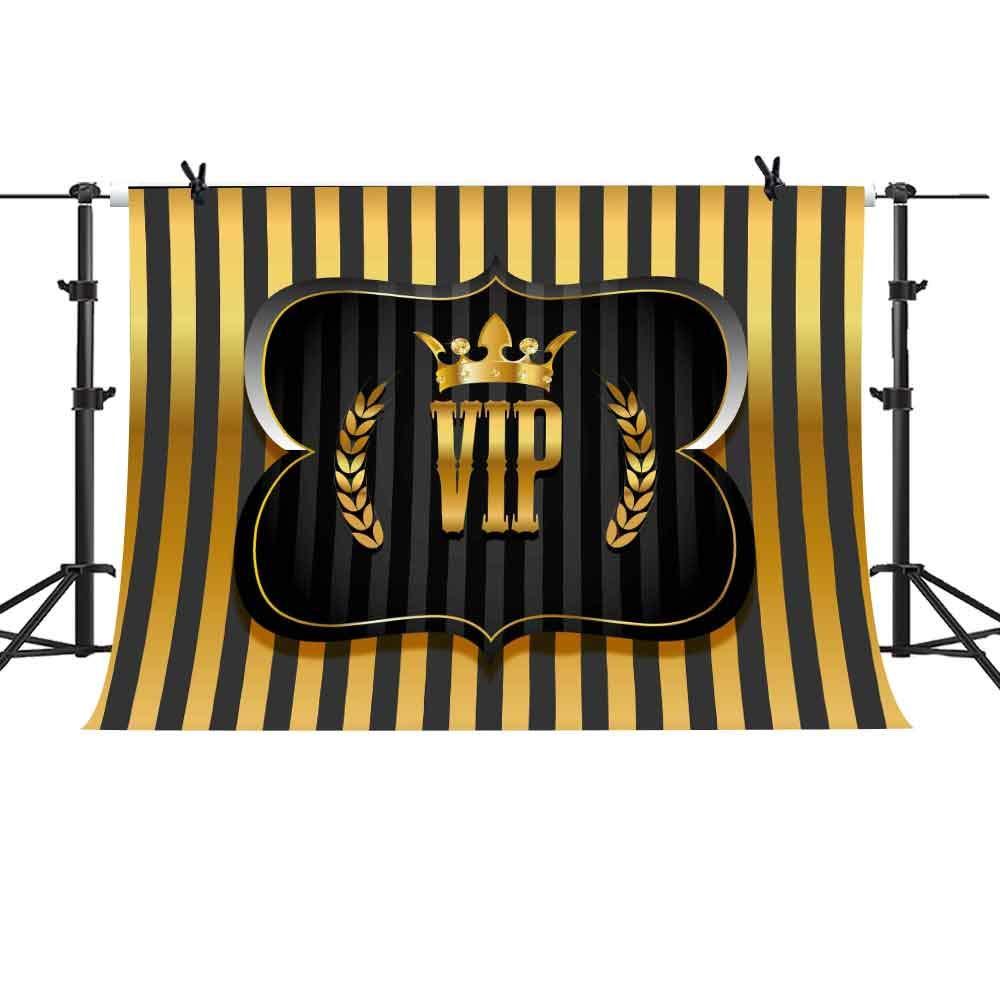 MME ハッピーバースデーパーティー VIP クラウンバナー ブラックとゴールドのストライプ グリッター グラマー スパークル フォトブース 背景スタジオ 10x7フィート LXME945   B07LC82HVL