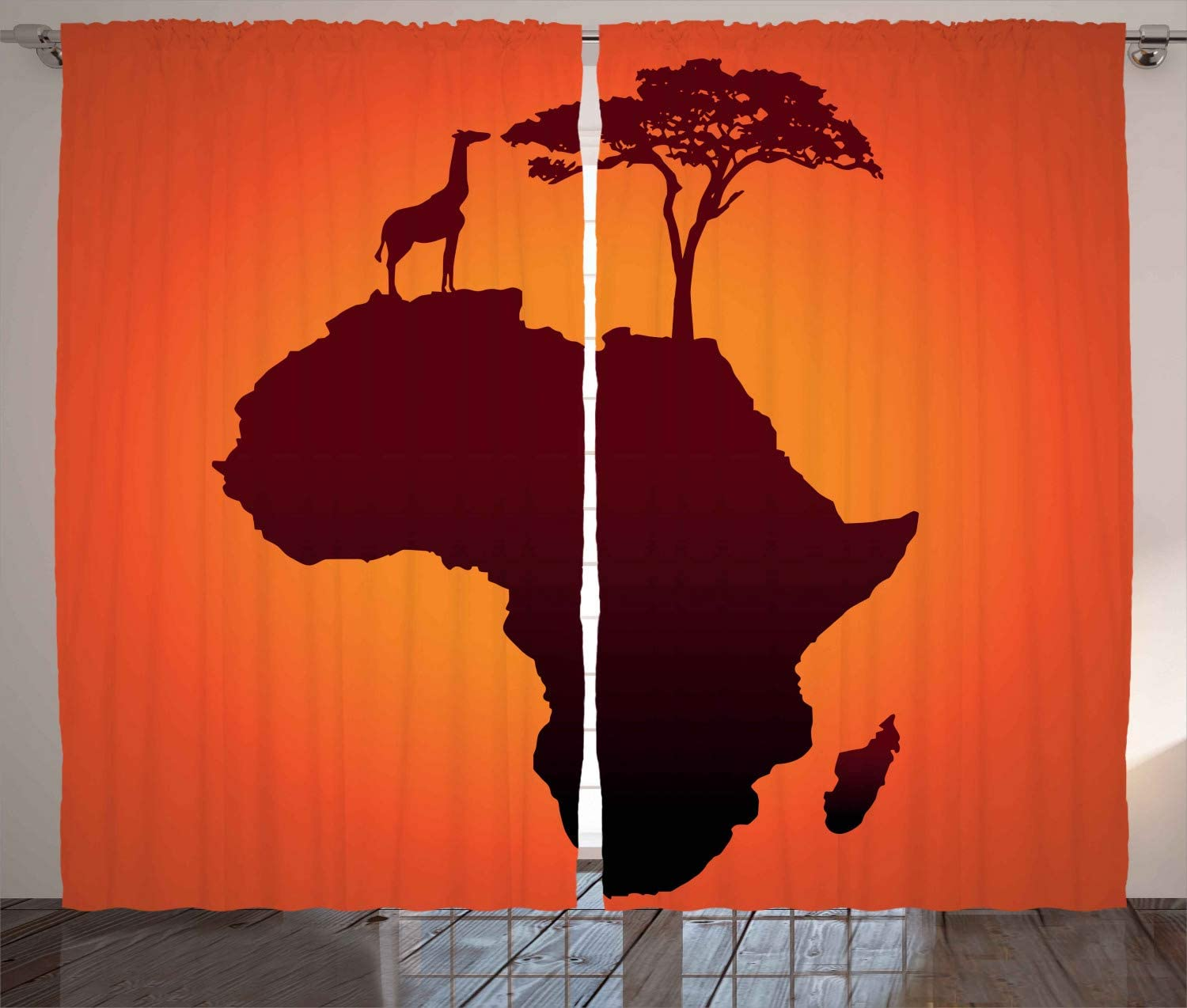 """Ambesonne African Curtains, Safari Map with Continent Giraffe and Tree Silhouette Savannah Wild Design, Living Room Bedroom Window Drapes 2 Panel Set, 108"""" X 96"""", Orange Brown"""