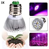 Castnoo 28W Full Spectrum Led Grow light Bulb E27 Grow Plant Light for Hydroponic Greenhouse Organic(Pack of 3)