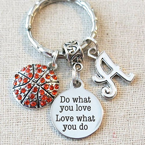 BASKETBALL Keychain, Do What You Love - Love What You Do Encouragement Gift, SENIOR Night Basketball Gift, CUSTOM Basketball Team Gifts (Gifts For Senior Night Basketball)