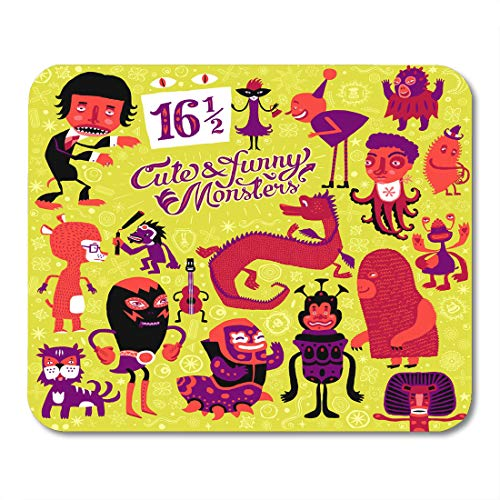 Nakamela Mouse Pads Fantasy of Sixteen and Half Cute and Funny Monsters Sweet Characters Doodles and Creatures Author's Kids Mouse mats 9.5