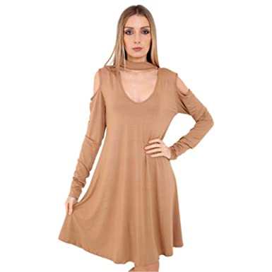 7e8310817050 ZET Womens Ladies Plus Size Cut Cold Shoulder Choker V Keyhole Neck Flared  Skater Swing Dress UK 8-26  Amazon.co.uk  Clothing